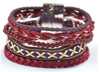 Wholesale Handmade Dark Red Tone Chinese Traditional Style Women Magnetic Bracelet Acessorios Para Mulher Fashion Jewelry