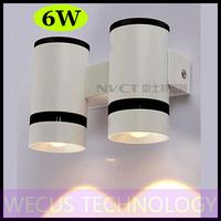 (WECUS) free shipping, American / European fashion LED wall lamp, bedroom bedside wall lamp, 2 heads 6W, XJ-BD-1221