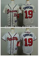 stitched  youth Atlanta Braves Jerseys 19# Andrelton Simmons  kid's /youth  baseball Jerse baseball shirt