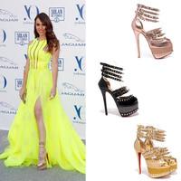 2014 Free shipping brand peep toe rivet women anklet sandal wholesale sexy high heel patent leather women pumps black pink gold