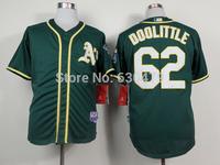stitched Oakland Athletics #62 Sean Doolittle green/ grey men's  baseball Jersey/  baseball shirt