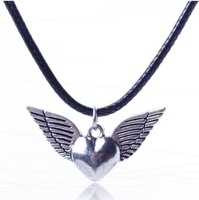 Fashion Brand jewelry new arrival 2014 bib leather cord chain alloy angle wings peach heart pendant  necklace