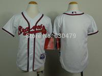stitched  youth Atlanta Braves Jerseys blank kid's /youth  baseball Jerse baseball shirt