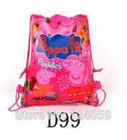 1Piece Non-woven Material kids Shopping Hangbag,Peppa Pig Cartoon Drawstring Bag Children School Bags,Sport Bag