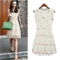 Free Shipping 2014 Spring Summer New Cute Women Sleeveless Chiffon Dress Casual White Floral Printed Mini Dresses S-XL