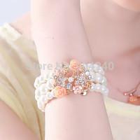 New Jewelry Fashion Sweet Four Leaf Resin Flowers Multilayer Pearl  Charm Chain Bracelet Girl Women gift Link Bracelet