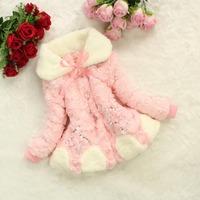 Free shipping girl winter coat Korean models of child plush fur coat jacket grass pentagram