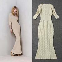 New Arrival 2014 Charming Half Sleeve Stretch Knit Long Dress140909XB01