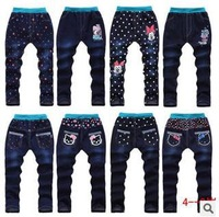 jeans pants-new 2014 girl's 2-7 years children's kitty and star pattern fashion cotton jeans,free shipping retails long pants