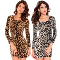 2014 Women's Casual Bodycon Sheath Dresses Leopard Printed Dress Ladies Sexy Leopard Print dresses vestidos casual free shipping
