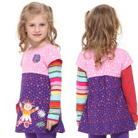 new arrival Lovely cartoon girl's spring autumn cotton patchwork long sleeve Baby LONG t-shirt HELLO UPSY DAISY F1960