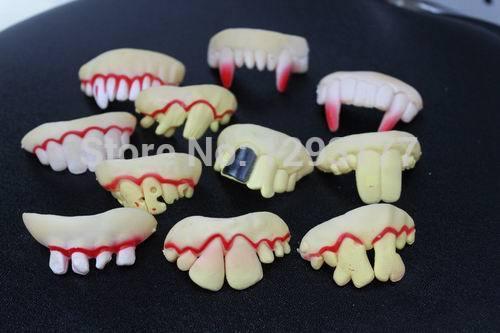 Newly Style,50PCS Wholesale Halloween Funny Teeth Fake Rotten Creepy Dentures,Free Shipping(China (Mainland))