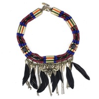 2014 new design za jewelry necklace animal head pendant feather tassels necklace rope chain