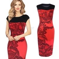 New Sexy Bodycon Dress Elegant OL Business Dress Women Work Wear Summer Casual Print Dress Plus Size S-XL SV003282