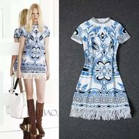 2014 New Arrival Elegant Printed Short Sleeve  Dress 140909XB02