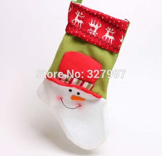 30PCS Christmas stockings gift bags embroidered Santa Claus socks homemade snowman Xmas decoration tree ornaments(China (Mainland))
