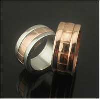 Gurantee 100% 316L Titanium Steel Stainless Steel rose gold plated Brand wedding rings stone natural  R569