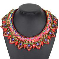 New Fashion Designer Accessories Knit Collar Bohemian Dress Fluorescent Beads Statement Necklace Women Jewelry NK726