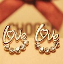 $10 (mix order) Free Shipping new 2014 Fashion jewelry LOVE Imitation diamond heart gold earrings women E223 6g