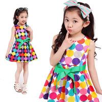 Gril Dress Dot Vestidos Infantis Black/White Dresses Kids Clothes Baby Girl 6-10 Age Vestido De Festa Infantil Flower Print