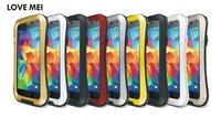 Retail 1pcs For Galaxy S5 Original Love Mei Powerful Metal Aluminum Case for Samsung Galaxy s5 + Gorilla Glass FreeShipping