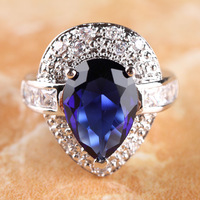 NEW PEAR CUT SAPPHIRE QUARTZ & WHITE TOPAZ  SILVER RING SIZE 7 R1-0198