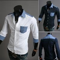 The new brand men's shirts men's fashion casual jacket lapel coat color Tibet Pale US shirt big yards ML XL XXL Free Shipping