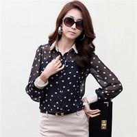 2014 Women's Retro Polka Dot Chiffon Shirt Korean Fashion Casual Long-Sleeved Shirt Collar Shirt Bottoming