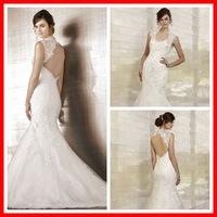 Lace Floor Length Chapel Train Wedding Dress With Scalloped Keyhole Back Mermaid Bridal Gown