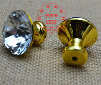 10PCS Diameter 31mm Diamond Shaped Clear Glass Crystal Cabinet Pull Drawer Handle Kitchen Door Home Furniture Knob Drawer Pulls
