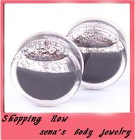 Black Acrylic Liquid Glitter Double Flared Flesh Tunnel  free shipping mix 6-16mm 120pcs/lot Ear Plug Gauges Body Jewelry