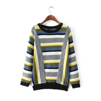 2014 women cotton blend mix color striped prints knitwear o-neck pullover sweater 452021