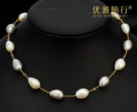 925 silver baroque pearls short necklace
