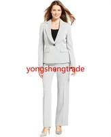 Custom Made Single-Button Stone Pant suit  Pleated Notched Collar Jacket & Mid Rise Straight Fit Pants 734