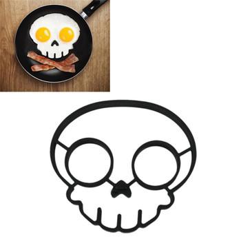 2014 кухня инструмент уникальный дизайн силиконовой резины яйцо формы с антипригарным череп яйца жареные яйца сковорода плесень блин плесень черный