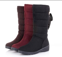 2014 new arrived simple solid color  fashion warm winter woman snow boots  flat bottomed warm footwear  ski shoes
