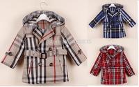 Autumn warm children girls suits 3 color classic  plaid denim jackets brand hoodies kids outerwear outfit children trench coat