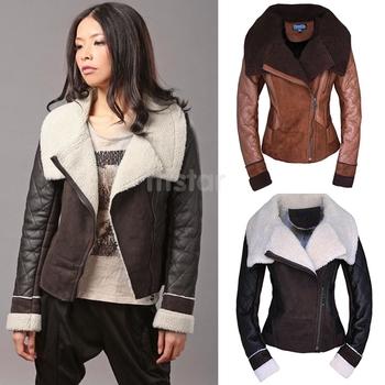 Зима женщин кожаное пальто Большой размер мода искусственного меха пальто с отложным ...