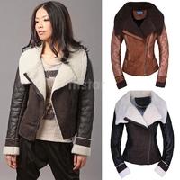 Winter Womens Leather Coat Plus size Fashion Faux Fur Coat Turn-Down Collar Zipper Jacket Sheepskin Wool Outwear SV007036