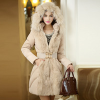 2014 Luxury Style Women Winter Long Down Parkas Thick Ladies elegant fur collar Outerwear Coat S-XL