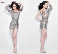Chic Sheath Mini One Long Sleeve Sequined Lace and Satin Formal Prom Dress Gown  for Sale 2014PD-0020