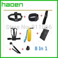 GoPro Accessories Set Gopro Remote Wrist Strap +Helmet Extention Kits Mount + Chest Belt Mount +Bobber +For Gopro hero2/3/3+