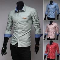 high quality new small square collar plaid shirt men's long sleeve shirt casual slim large small collar shirts Size: ML XL XXL