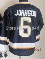 wholesale St. Louis #6 Erik Johnson dark blue hockey jerseys, please read size chart