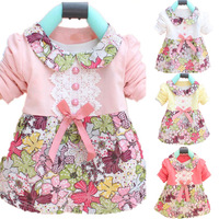 Free & Dropshipping Infant Baby Girls Floral Princess Dress Bowknot One Piece Baby Dress 0-2Y