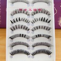 10 Pairs Handmade Natural Makeup False Eyelashes Soft Long Eye Lash grope Cosmetic Free shipping & Drop shipping l1358