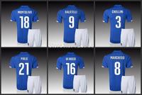 2014 Italy Home Football Kits Set Jerseys Shorts With Badge & Logo Balotelli Pirlo Soccer Uniforms Embroidery LOGO