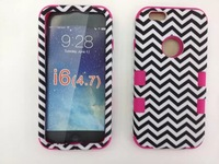 5PCS  For iphone6 4.7 inch  Wavy lines water paste protective shell of silica gel and PC three sets of housing