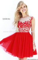 Cap Sleeve O Neck New Stylish Appliqued Red Short Prom Dress to Party Homecoming HM666