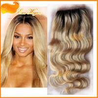 Ombre Color 5X5inch 3 Part Lace Closure Brazilian Virgin Hair Body Wave Closure blonde 1b/613#  Bleached Knots Free Shipping